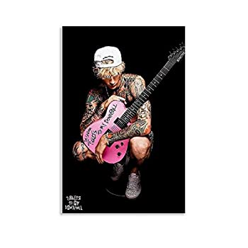 DSFHG MGK Machine Gun and Pink Guitar Poster Poster Decorative Painting Canvas Wall Art Living Room Posters Bedroom Painting 16x24inch 40x60cm