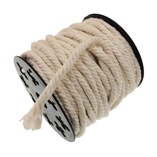 Sharplace Cordón de Macramé, 1 Rollo de Cuerda de Macramé de Algodón Natural Blanco, Cordones de Algodón Retorcidos para Manualidades, Colgantes de Plantas, DEC - 20m