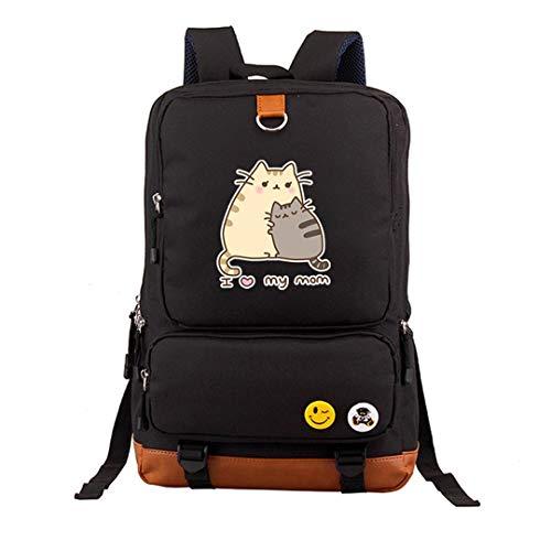 Sccarlettly Schulranzen Katze Druck Rucksack Kawaii Casual Chic Frauen Rucksack Leinwand Schultaschen Pusheen Taschen 1 Schultasche Mädchen Jungen Ranzen (Color : 3, Size : One Size)