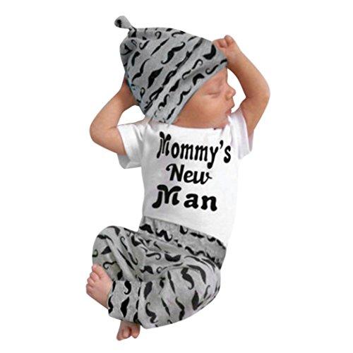 QinMM QinMM Babykleidung Satz, Neugeborenes Baby Mädchen Jungen Niedlich Wolken Druck Lange Ärmel T-Shirt Tops + Hosen Ausstattungs Kleidung Satz (0-18Monate) (18M, Weiß B)