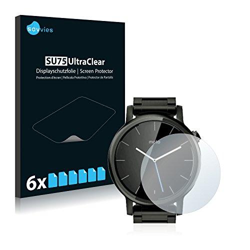 Savvies 6X Schutzfolie kompatibel mit Motorola Moto 360 46 mm (2. Generation) Bildschirmschutz-Folie Ultra-transparent