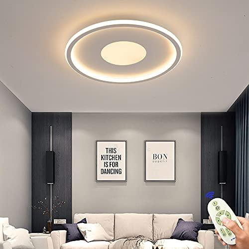 Lámpara de techo LED de 72W,regulable, plana, 50cm, color blanco, lámpara de techo ultrafina, con mando a distancia,3000K-6500K, para dormitorio,habitación de los niños,salón,cocina,creativa redonda