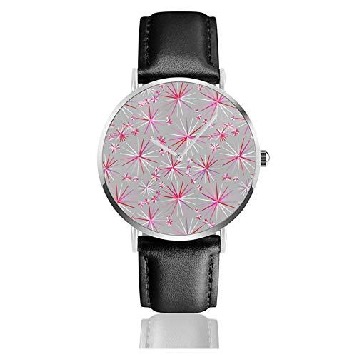 Reloj de cuero con diseño de Sputnik de mediados de siglo gris y fucsia unisex clásico casual de moda reloj de cuarzo reloj de acero inoxidable con correa de cuero