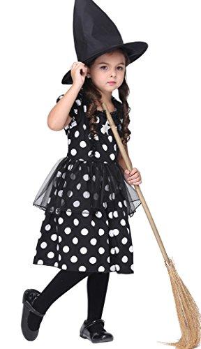 Bigood Costumes Déguisement Sorcière Magique Néon Enfant Fille pour Halloween L