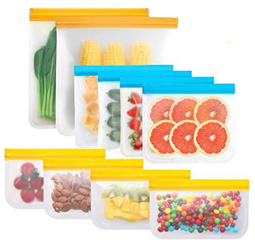Yuztousp Reusable Storage Bags Waterproof Leakproof Freezer Bags 10 Pack 2 Reusable Gallon Bags  4 Reusable Sandwich Bags  4 Reusable Snack Bags Plastic Free Ziplock Lunch Bags