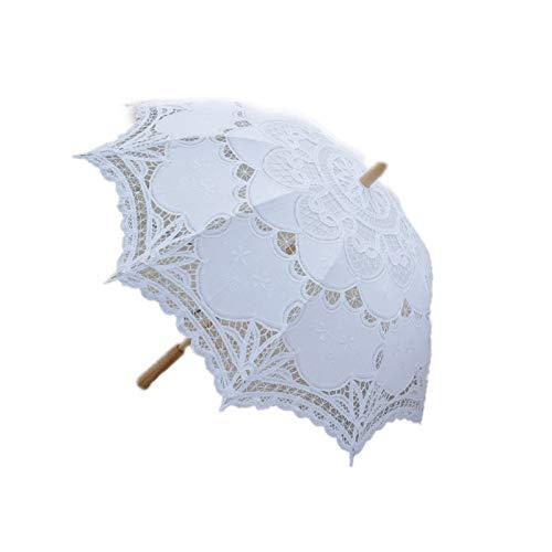 NEYOANN Sombrilla de novia con bordado de encaje victoriano de 80 cm, color blanco