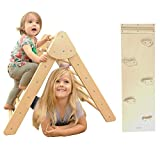 Tottlr Foldable Climbing Triangle with Ramp - CPSIA Certified Safe - Foldable Triangle Climber and Reversible Slide Attachment - Montessori Waldorf - (Medium Triangle & Small Ramp with Rock Holds)