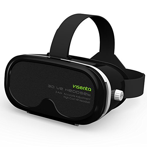"""Visenta 3D VR Einstellbar Virtuelle Realität Brille Karton Video Film Spiel Brille virtuelle Realität Gläser von Normal Sehkraft bis zu High Myopia (Kurzsichtigkeit) -6.50D 3D Virtual Reality Brille für Smartphones Video Film Spiel Geeignet Telefon Größe 4.0 """"-5.5"""" Dicke weniger als 8mm"""