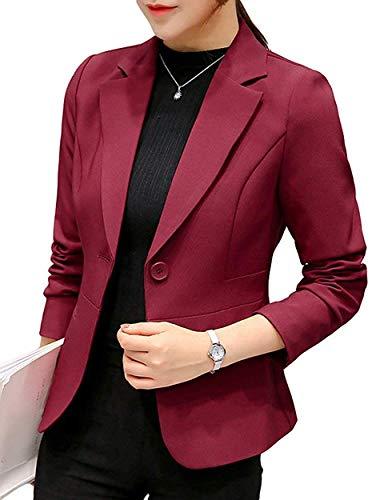 Uni-Wert Damen Blazer Slim Fit Anzugjacke Elegant Langarm Revers Frauen Sakko Einfarbig Kurz Jacke EIN Knopf Blazer Business Anzug Büro Jacke
