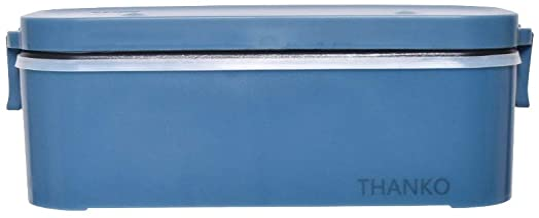 THANKO 炊飯器 小型 一人用 おひとりさま用超高速弁当箱炊飯器 白色/さくら色/藍色 (藍色)