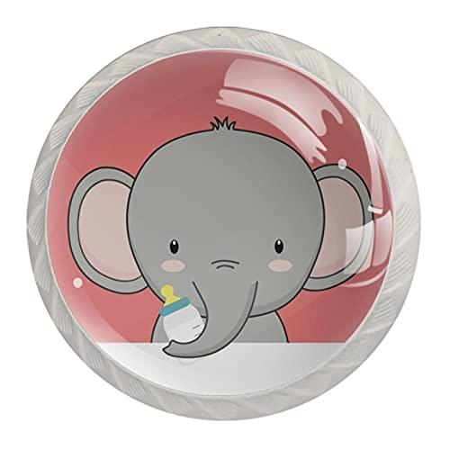 Lindo elefante Cartoo bebé, 4 unidades ABS aparador, pomos redondos para armario, cajones de cocina