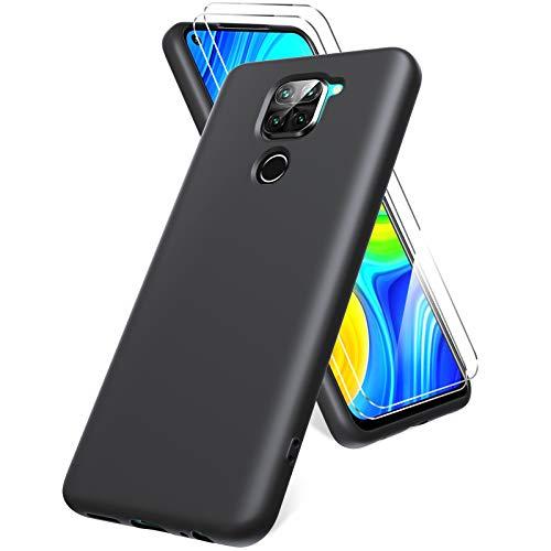 Oududianzi Funda para Xiaomi Redmi Note 9, Protector Pantalla Cristal Templado, Carcasa de Silicona Líquida Gel Ultra Suave Funda con tapete de Microfibra Anti-Rasguño - Negro
