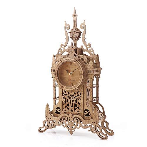 nicknack Tischuhr Modellbau - Laser geschnitten Uhr Bausatz - 3D Holz Puzzle für Erwachsene - 47 Teile Puzzle-Licht (Licht)
