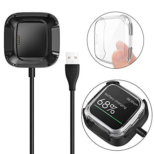 KIMILAR Screen Protector Case Charger Compatible with Fitbit Versa Smartwatch, TPU Plated Full Coverage Bumper Replacement case Unique Charger Dock Charging Cable (Charge with Case On) Clear