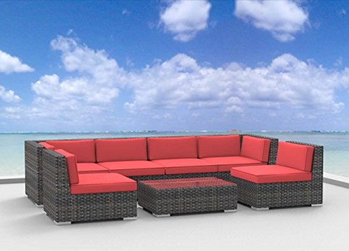 Urban Furnishing.net - OAHU 7pc Modern Outdoor Wicker Patio Furniture Modular Sofa Sectional Set, Fully Assembled - Coral Red