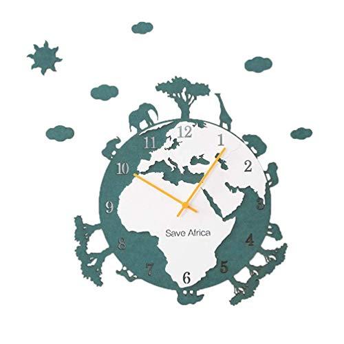 qwertyuio Reloj De Pared Large Earth Eco Trees Reloj Silencioso Sin Tictac WAL, Creative Eco Theme 3D Reloj De Pared De Madera Redondo Decoración De Pared Moderna Nórdica, Cuarzo, Funciona