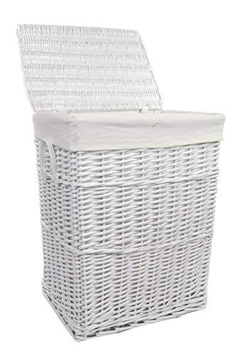 DVier VWWK-08WRt-b - Cesto para la colada (mimbre, rectangular, con tapa, asa, 60 L, 40 x 30 x 55 cm), color blanco