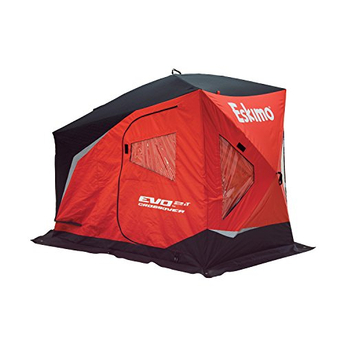 Eskimo 25502 EVO 2it Portable Flip Style Insulated Ice Fishing Shelter with Pop Up Hub Sides, 2 Person