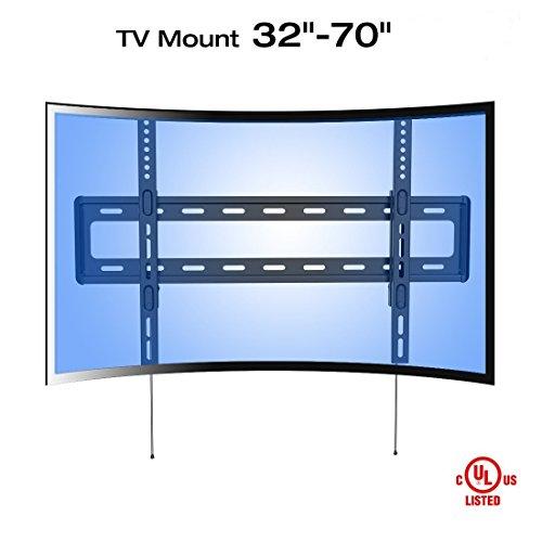 Fleximounts R1 Curved TV Wandhalterung für extragroße Fernseher, Wandhalter geeignet für 81-178cm (32-70 Zoll), max. 45 kg, VESA 200 x 200 bis 600 x 400, schwarz