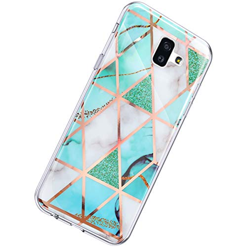 Herbests Kompatibel mit Samsung Galaxy J6 Plus 2018 Hülle Glänzend Glitzer Marmor Muster Schutzhülle Weich Silikon Ultra Dünn Handyhülle Handytasche Durchsichtige Silikon Hülle Case,Marmor Weiß Grün