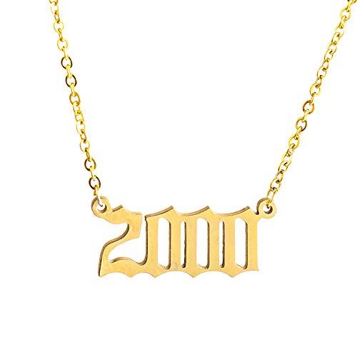 Lixinli Collar con Colgante de Fecha de cumpleaños Especial Vintage de 1980 a 2019, Collar de Oro y Plata Personalizado (2000, Oro)