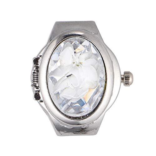 Suministros de Relojes - Anillo de Dedo con Forma de Reloj Ovalado Especial Anillo de Reloj de Cuarzo Exquisito de Moda para Hombres y Mujeres (Blanco)