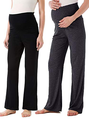 Product Image of the Ecavus Women's Maternity Wide/Straight Versatile Comfy Palazzo Lounge Pants...