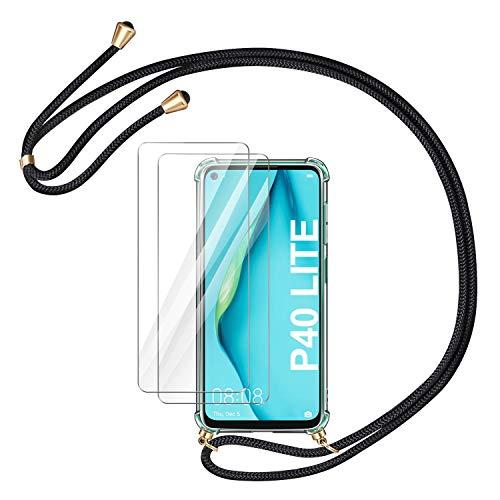 AROYI Handykette Handyhülle + [2 Stück] Panzerglas Schutzfolie für Huawei P40 Lite Hülle mit Kordel zum Umhängen Necklace Hülle mit Band Schutzhülle Transparent Hülle für Huawei P40 Lite