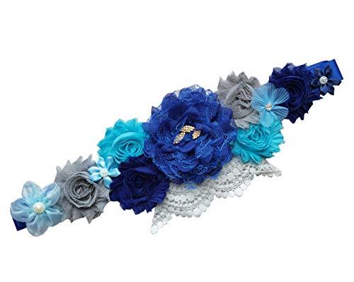 FANFAN Pregnancy Sash Maternity Sash Belt with Flowers Bridal Wedding Sash Belt Y03 (Royal blue)…