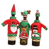 Cubierta de Vino de Navidad Decoración de Mesa de Cena Bolsa de Vino Tinto Tela de Tela Rojo y Verde Juego de 3 Piezas