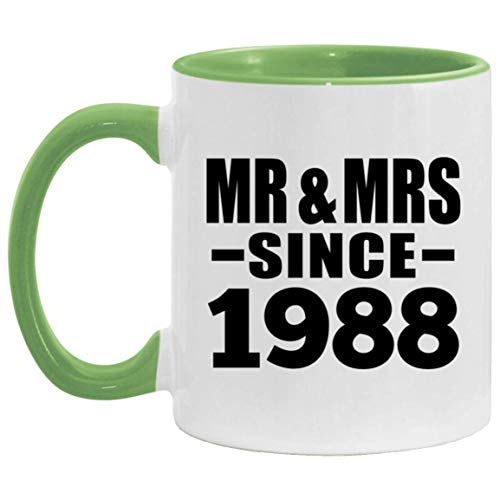 33rd Anniversary Mr & Mrs Since 1988-11oz Accent Mug Green Kaffeebecher 325ml Grün Keramik-Teetasse - Geschenk zum Geburtstag Jahrestag Weihnachten Valentinstag