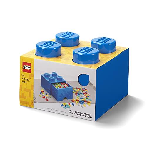 LEGO-40051731 Brique de Rangement Empilable 4 avec Tiroir, Solid, 40051731, Bleu, 25 x 25 x 18 cm