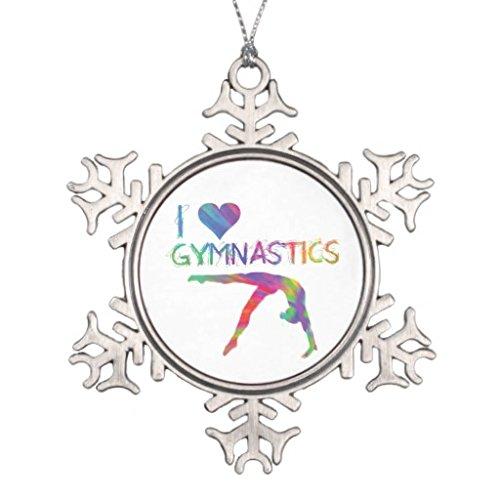 ymot101 I Love Gymnastics Schneeflocken-Anhänger aus Zinn