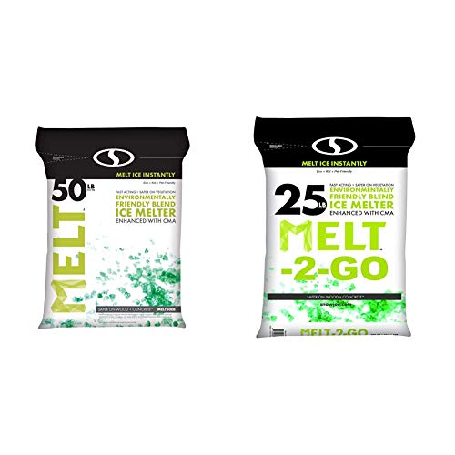 Snow Joe AZ-50-EB Melt-2-Go Nature + Pet Friendly CMA Blended Ice Melter, 50-lb Bag & AZ-25-EB Melt-2-Go Nature + Pet Friendly CMA Blended Ice Melter, 25-lb Bag