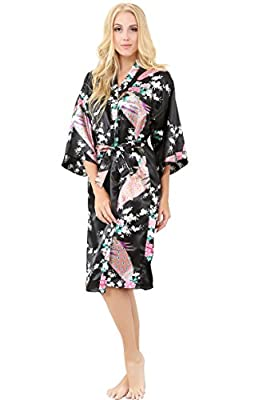 ALLINLOVER Women's Floral Kimono Robe Silk Peacock Printing Soft Breathable for Bride and Bridesmaids Nightgown