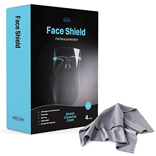 WeCare Face Shield Glasses 4 Pack - 180° Plastic Face Protectors with Blue Eyeglasses Frame with Cleaning Cloth - Full Facial Protection - Clear, No Fog, Comfortable, Lightweight, Reusable