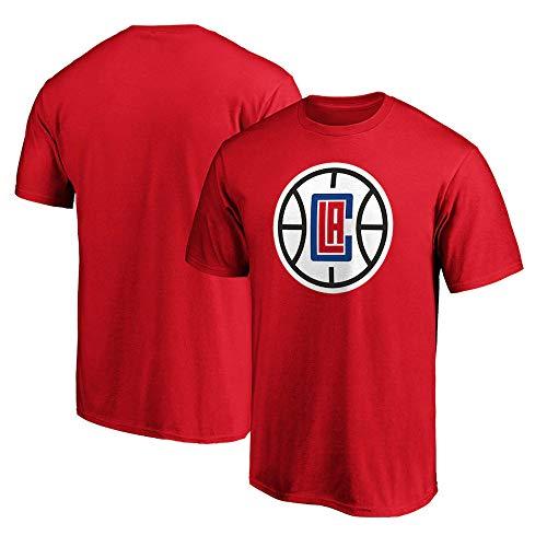 BMSD Camiseta de Manga Corta Hombre NBA Clippers Fans Red Print Club Casual Street Adolescente Camisetas de Media Manga Baloncesto Juvenil Deporte, L