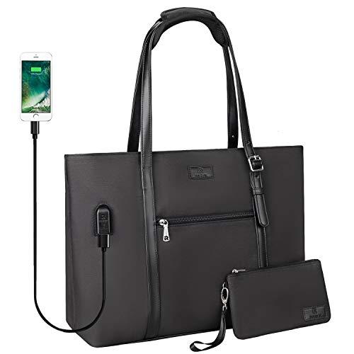 USB Laptop Tote Bag,Chomeiu Woman 15.6 inch Laptop Organizer Bag Teacher Work Purse (Black)