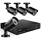 FLOUREON 8CH 6-in-1 Security Camera System 1080P Video DVR Recorder with 4X HD 1080P 2.0MP CMOS Lens XVI Indoor Outdoor Weatherproof CCTV Cameras, Human Detection, Night Vision, Easy Remote Access