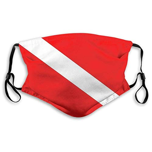 Masken mundschutz Tauchen Deep Dive Flag Unisex mit Filter Anti-Dust Washable Wiederverwendbare Gesichtsabdeckung mit Verstellbarer Earloop-Gesichtsabdeckung Sturmhauben