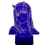 Lámpara 3D Anime Zero Dos cifras Luz Nocturna Niñas Decoración de recámara Manga Luz Regalo Luz de Noche Darling In The Franxx