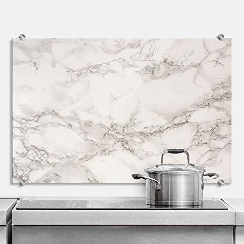 Spatscherm Keuken - Marmer Look - Hittebestendig Glazen Spatwand inclusief Luxe Wandklemmen - 100x70 cm (bxh)