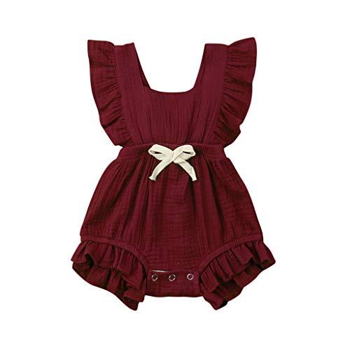 POIUDE Baby Girl Clothing Mode Body D'éTé Pyjama Naissance de BéBé Fille 0-24 Mois Combinaison de Printemps BéBé Fille sans Manches Barboteuse Robe Barboteuse(du vin,0-6 Mois)