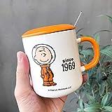 xingfuankang 1Pcs 350Ml Tazza da caffè per Cani dei Cartoni Animati con Coperchio E Cucchiaio 6 Stili Cute Dog Milk Tea Juice Tazza in Ceramica Regali per Bambini Friends_Style_C_Mug