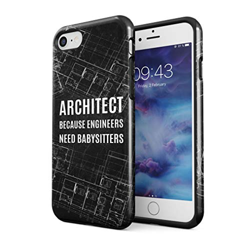 Maceste Architect Because Engineers Need Babysitters Quote Compatible with iPhone 7/8 /SE 2020 Silicone Inner & Outer Hard PC Shell 2 Piece Hybrid Armor Case Cover