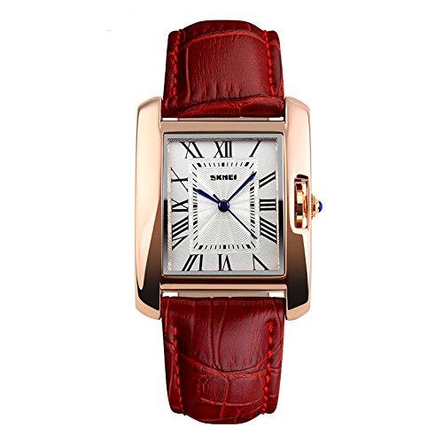 orologio da polso impermeabile SKMEI 30M per la donna Fashion Square Dial Business casual Donne rossi Orologi