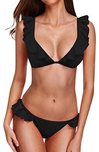 Yuson Girl Bikini para mujer con volantes, favorecedor, traje de baño de dos piezas, ropa de baño, ropa de playa, juego de bikini para mujer, verano a rayas, traje de baño monokini Negro S