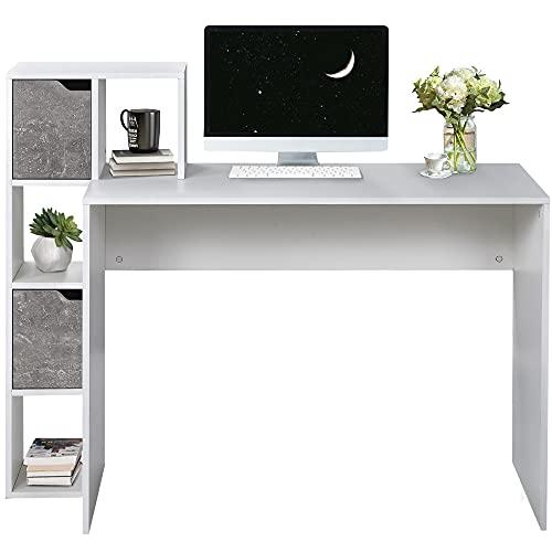 Escritorio para ordenador, mesa de oficina, mesa de juegos, con 3 estantes abiertos y 2 cajones, escritorio para salón, hogar, oficina, 120 x 50 x 100 cm (blanco)