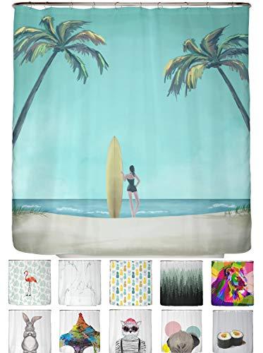 arteneur® - Strand von Kalifornien - Anti-Schimmel Duschvorhang 180x200 mit Öko-Tex Standard 100 - Beschwerter Saum, Blickdicht, Wasserdicht, Waschbar, 12 Ringe und E-Book