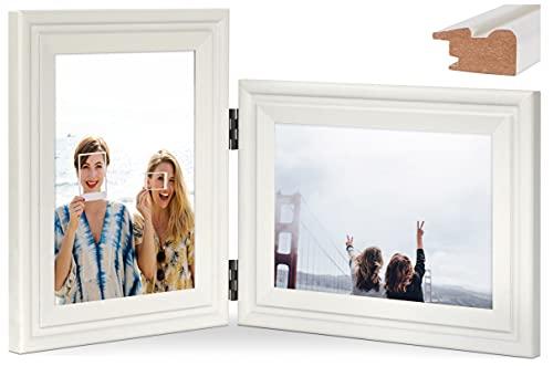 JD Concept Horizontal-Vertikal-Bilderrahmen, doppelter 13x18 cm Klappbar Holz-Fotorahmen, Glasscheibe, Tisch- oder Wandmontage, Hoch- und Querformat-Ansicht, Weiß